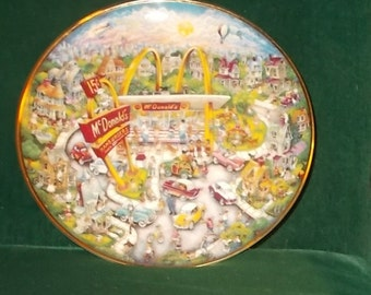 McDonalds Golden Moments Plate Franklin Mint Bill Bell Collectors Plate Collectible Plate McDonalds Restaurant Aerial Scene Free Shipping