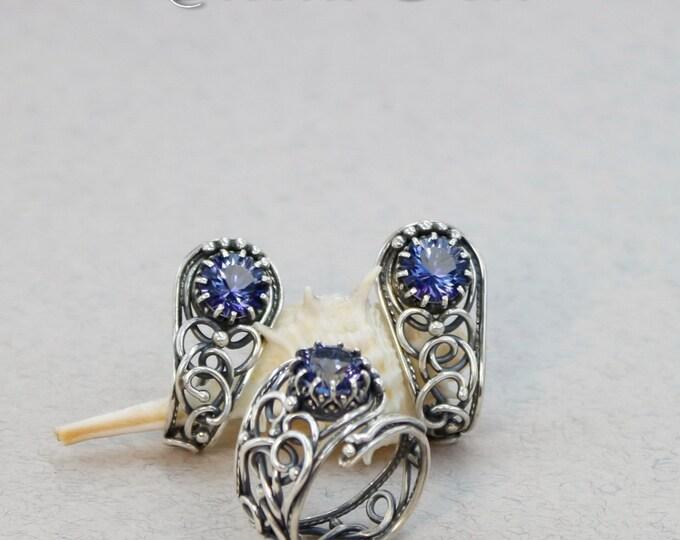 Mystic topaz jewelry , blue earrings , blue rings , mystic topaz ring , mystic topaz earrings , silver 925 , size 8.5 stud earrings Rusteam