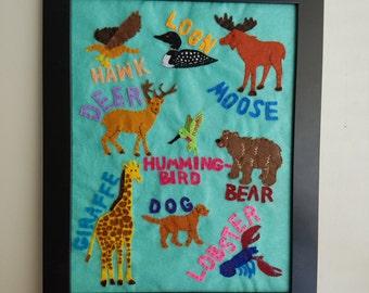 Made to order - Custom Favorite Animal Chart - Nursery/Kids Decor, Baby Shower Gift
