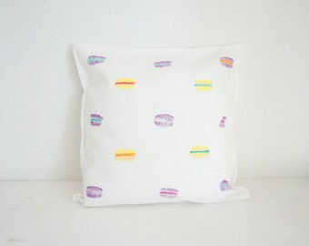 Sweet macarons, lavender and lemon flavoured French patisserie. Modern minimalist design. Hand painted cotton cover.