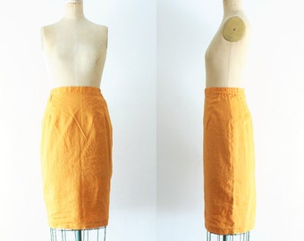 Vintage Mustard Yellow Pencil Skirt Mustard Pencil Skirt Mustard Skirt 60s Skirt Mad Men Skirt Linen Pencil Skirt Medium Size 10 Size
