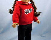 Doll Clothes American Girl - Volleyball Hoodie and Sweatpants - 18 Inch Doll Clothes - Red and Black
