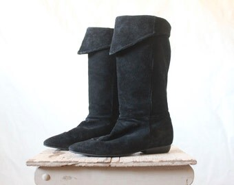 Vintage Black Suede Leather Boots 7.5/8.5