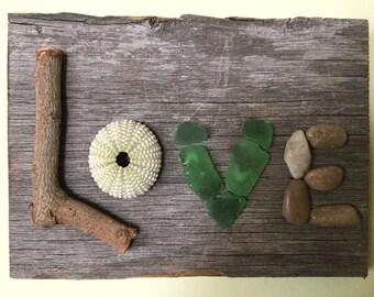 Handmade Organic LOVE Sign on old Barn Wood / Wall Hanging / Beach Decor