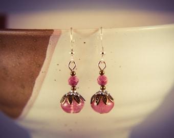 Cherry Quartz and Pink Rhodonite Silver Gemstone Earrings [E3]