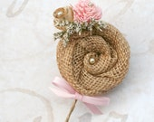 Custom Dyed Rustic Groom's Boutonniere, Natural Burlap, Vintage Book Flower, Dried Flowers, Ivory Wedding, Pink Sola, Buttonhole, SunnyBee