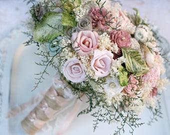 Pink Wedding Bouquet // Dusty Pink, Dusty Rose, Bridal Bouquet, Wedding Flowers, Dried Flower, Lace, Burlap, Sola, Bridal Flower, Bouquet