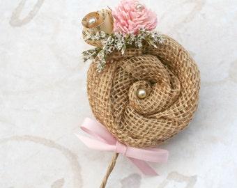 Rustic Burlap & Pink Flower Groom's Boutonniere // Natural Burlap, Vintage Book Flower, Dried Flowers, Wedding, Sola Wood, Buttonhole