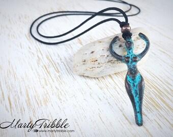 Goddess Necklace, Pantina Goddess, Blue Goddess, Goddess Pendant, Goddess Jewelry, Feminine Jewelry, Necklace for Her, Spiritual Gift, Vegan