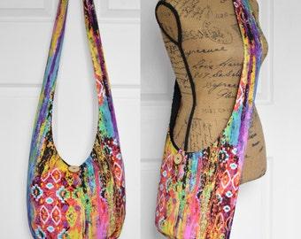 Hobo Bag Hippie Purse Crossbody Bag Sling Bag Hippie Bag Boho Bag Bohemian Purse Hobo Purse Slouchy Bag Aztec Fabric Bag Abstract Gypsy Bag