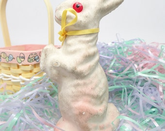 Vintage 1950's 6 Inch Paper Mache Easter Rabbit or Bunny Candy Container