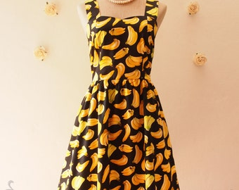 Casual Dress Cotton Dress Banana Dress Vintage Party Dress Spring Summer Sundress Tea Dress Fruit Dress Retro Pin Up fashion  -XS-XL,Custom