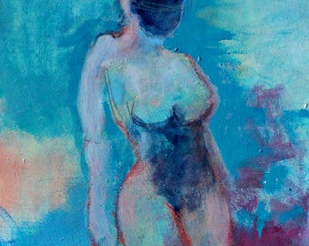 "Small Abstract Figure Painting, Gesture Study, Blue, ""Stand Still"" 8x10"