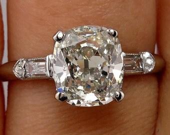 Reserved...Art Deco 2.27ctw Antique Vintage CUSHION Cut Diamond Engagement Ring in PLATINUM, Circa1930s
