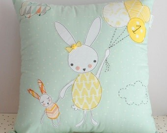 Custom Bunny pillow cover nursery decor, decorative pillow cover, gift for gils, Kids decor,Special occasion, made to order