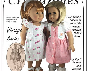 """Fab Forties PDF Pattern to fit American Girl and 18"""" dolls"""