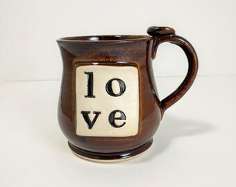 Love Mug, Love Typography Coffee Cup, Ceramic Pottery Ready to Ship