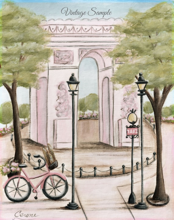 Arc de triomphe vintage paris nursery wall art paris decor for Arc de triomphe wall mural