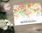 5x7 Will You Be My Bridesmaid Printable Card | PRINTABLE Card | Digital DOWNLOAD | Floral Vintage Design DD006