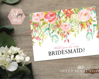 5x7 Will You Be My Bridesmaid Printable Card | PRINTABLE Card | Digital DOWNLOAD | Floral Vintage Design DD006