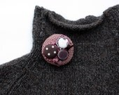 Cluster circle brooch pin, crochet with fabric buttons, OOAK