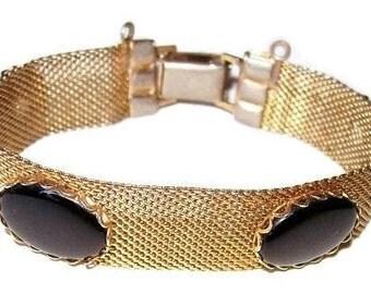 "Black Gold Mesh Bracelet Cabochon Stones Panel Style 7"" Vintage 1950s"