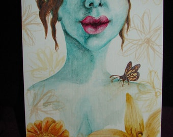 Forest Fae - Original Art - Butterflies and Flowers - Fairy - Pixie - Watercolour