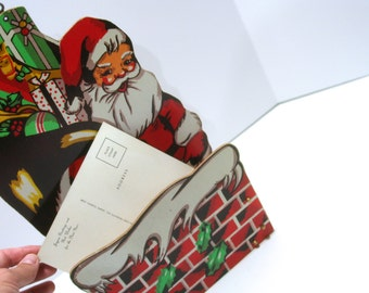 CHRISTMAS CLEARANCE Vintage Card Holder Wall Pocket Wall Hanging Balsa Wood Japan Letters Santa Wish List Whimsical Santa Folds Collapsible