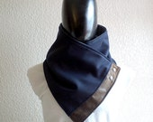 Unisex scarf. Men and women cowl,Wide, Navy blue wool with faux suede and metalic snaps . Modern and cozy. Mens winter. Husband gift.
