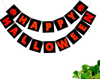 Halloween Banner, Happy Halloween Sign,  Orange black halloween bunting decoration, halloween party decor, photo prop