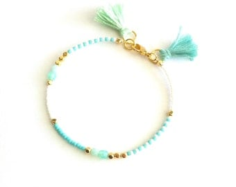 Mint White Blue Beaded Bracelet With Tassel, Tassel Bracelet, Thin Bracelet, Beaded Friendship Bracelet, Thin Beaded Bracelet, Gift For Her