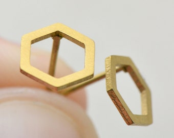 Geometric Hexagon Earring Posts, Brushed 24k Gold Plated Surgical Stainless Steel, Dainty Minimal Hexagon Outline Earring Posts & Studs