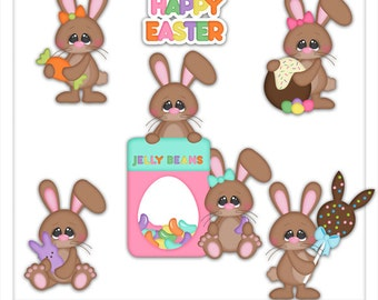 Clipart - Chocolate Bunny -Easter clipart - Kristi W Designs