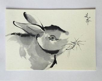 Ink art painitng, rabbit drawing, etegami, Japanese style art drawing, animal painting, animal art, ink art, ink paining, Reina Kobayashi,