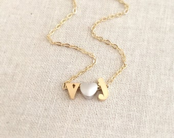 Heart Initial Necklace, Silver Heart Necklace, Gold Initial Charm Necklace, Personalized & Custom Necklace, Engagement Gift, Bridal Gift