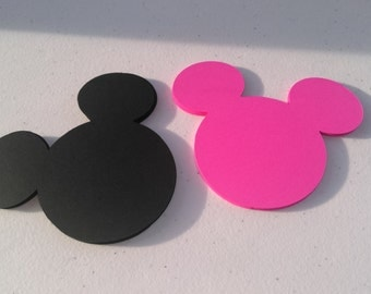 12 Mickey Mouse Heads - 4 inches - Cardstock Die Cuts for Scrapbooking, Cupcake Toppers, Tags