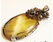 Copper Jewelry / Yellow Calcite Pendant / Copper Wire Wrapped Jewelry / Pendant / Necklace
