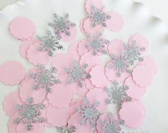 Snowflake Confetti |Glitter Snowflake Party |Snowflake 1st Happy Birthday Decor |Winter Wonderland Party |Pink Gold Glitter |Silver 100CT