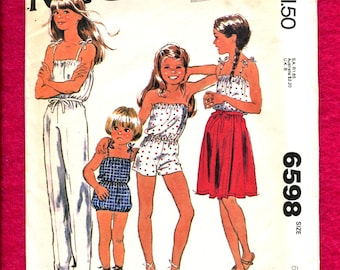 Vintage 1980's McCalls 6598 Summer Time Rompers & Jumpsuit with Wrap Skirt for Girls Size 6 UNCUT