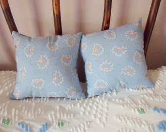 Pair of Country Print Pillows, Two Small Handmade Light Blue Throw Pillows