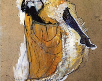 The Art of Toulouse-Lautrec. Study of Jane Avril Dancing, 1893.  Fine Art Reproduction.