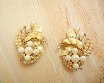 Vintage 1950's Pearl Floral Earrings | Large Ear Climber Earrings