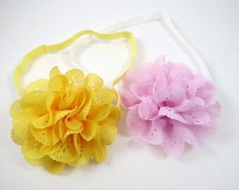 Baby Girl Headbands - Pink and Yellow Flower Headband Set - Flower Headbands - Set of Headbands - Baby Toddler Teenager Adult Headbands