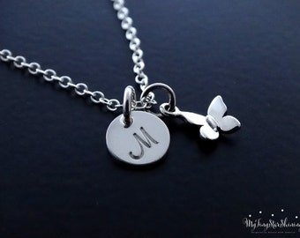 Butterfly Necklace Silver Initial Necklace Personalized Jewelry Hand Stamped Jewelry Butterfly Jewelry
