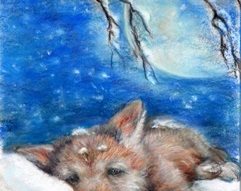 Wolf Cub children Nursery, baby animalwildlife Canvas or Cotton art paper print, 'Sleepy Wolf Cub on a Pillow of Snow' Laurie Shanholtzer
