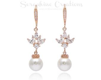 Rose Gold Pearl Earrings, Wedding Jewelry, Swarovski Pearls Cubic Zirconia Wedding Earrings Sparkly Bridesmaid Gifts Eliana Classic K147RG