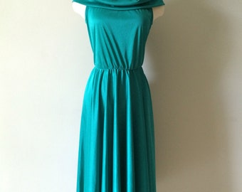 Vintage 1970s teal Dress Made by Jenny, Made In the USA