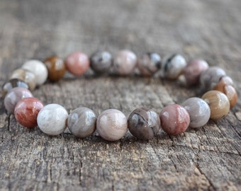 Petrified Wood Bracelet 8mm Bead Bracelet Gemstone Bracelet Handmade Stacking Bracelet Stretch Bracelet Unisex Womens Mens Bracelet Gifts