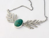 Cedar and chrysocolla woodland necklace sterling silver