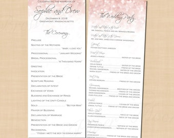 Pink Blush Glitter Long Wedding Programs (4.25x11, Portrait): Text-Editable in Microsoft® Word, Printable, Instant Download